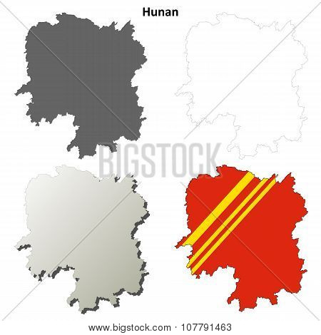 Hunan blank outline map set