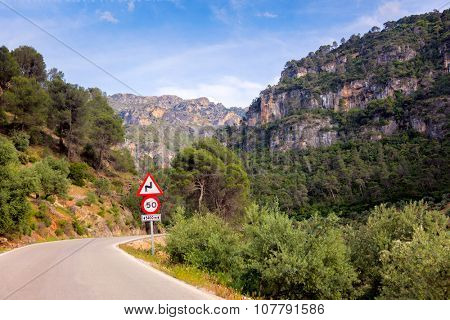 Dangerous Turn on the road in the mountains