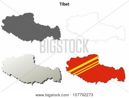Tibet outline map set - Chinese version