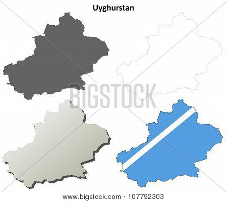 Uyghurstan outline map set - Uyghur version