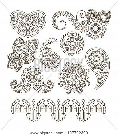 Indian Floral Ornaments, Mandala, Henna. Vector Illustration