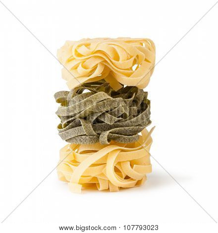 fettuccine pasta isolated on white background