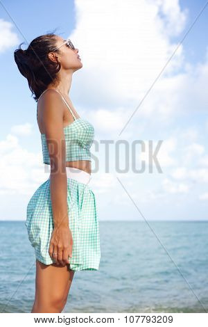 Outdoor Fashion Portrait Summer Beach Style Of Young Woman