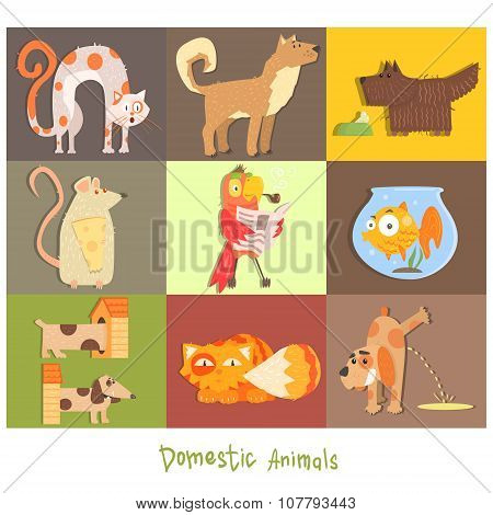 Pets, Cats, Dogs and their Actions, Emotions. Vector Set