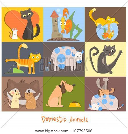Cute Pets, Cats, Dogs and their Actions, Emotions. Vector Set
