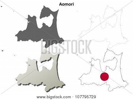 Aomori blank outline map set