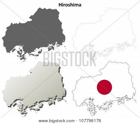 Hiroshima blank outline map set