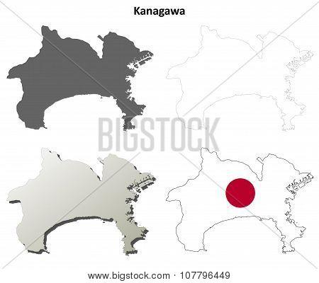 Kanagawa blank outline map set