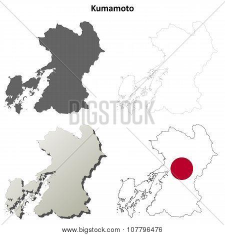 Kumamoto blank outline map set