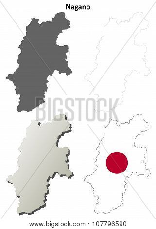 Nagano blank outline map set