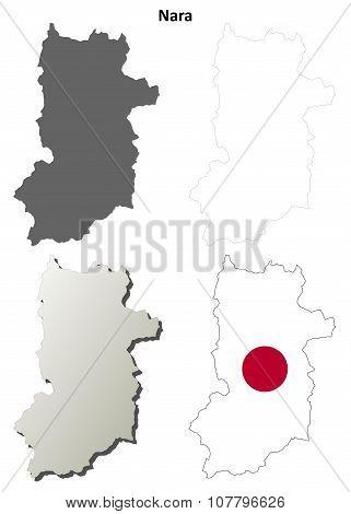 Nara blank outline map set