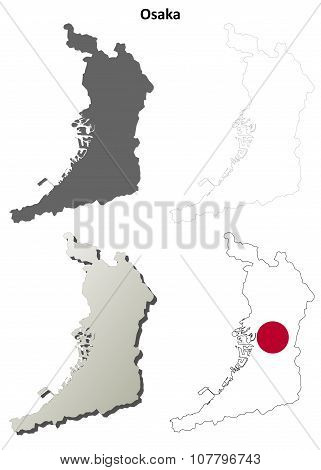 Osaka blank outline map set