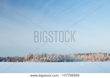 Winter lake scenery in finland