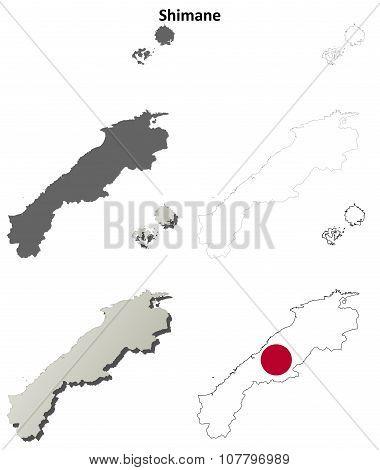 Shimane blank outline map set