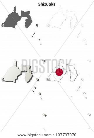 Shizuoka blank outline map set