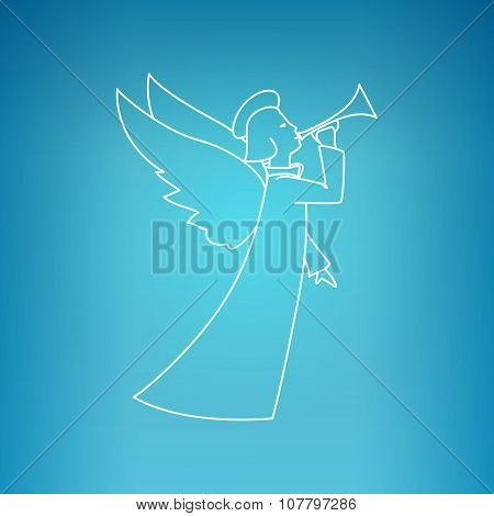 Christmas Angel On A Blue Background