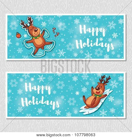 Happy Holidays horizontal banners with cute cartoon deer