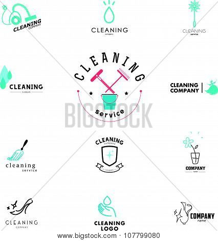 Vector collection of flat logo for cleaning company.