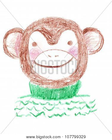 Cute cartoon crayon hand drawn monkey in sweater