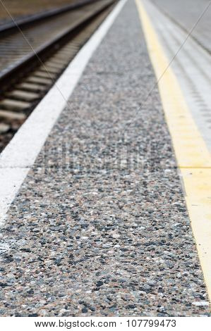 Pattern Perspective View At The Edge Of Platform To Warn Of The Railway Lines