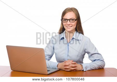 Office employee holding laptop isolated on white