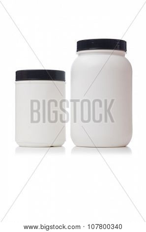 Jars with food additive protein isolated on white