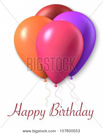 Photorealistic Vector Air Balloon in Frame. Happy Birthday Card