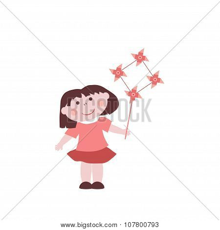 Little Girl With Windmill Toy