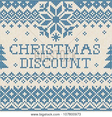 Christmas discount: Scandinavian or russian style knitted embroi