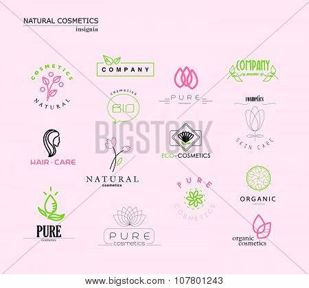 Vector collection of cosmetics logo identity templates. Natural and eco product label. Organic cosme