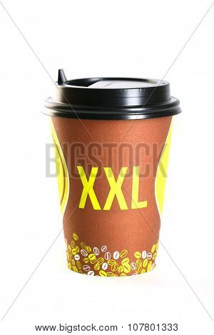 Coffee In Thermo Cup Xxl. Isolated On A White Background
