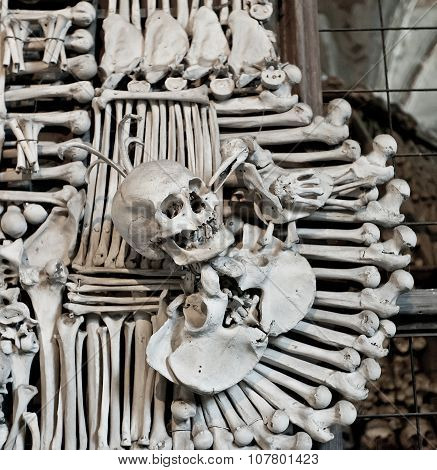 Sculls And Bones In Sedlec Ossuary, Czech Republic