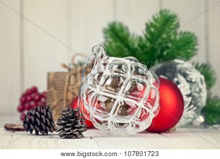 Christmas balls with branch fir and pinecone on wooden board. Illustration