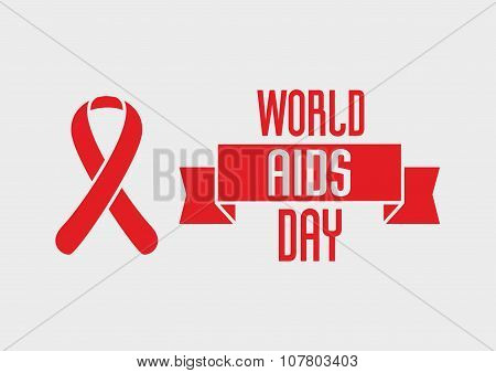World Aids Day Design Concept With Red Ribbon Of Aids Awareness On Light Background