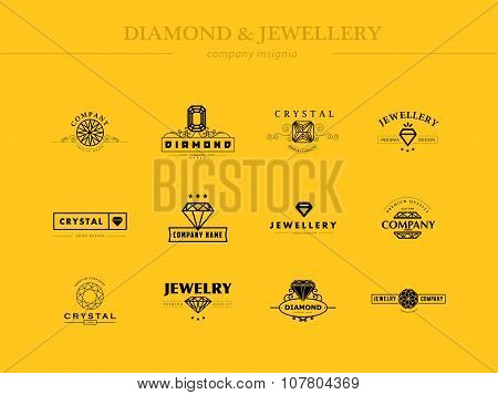 Vector collection of jewellery and diamond logo.