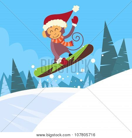 Monkey Snowboarder Sliding Down Hill, Winter Banner Snowboarding