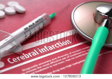 Cerebral infarction. Medical Concept on Red Background.