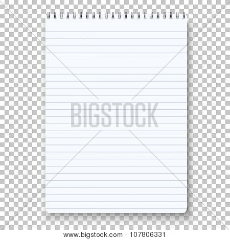 Photorealistic Vector Notepad Isolated on Transparent Background
