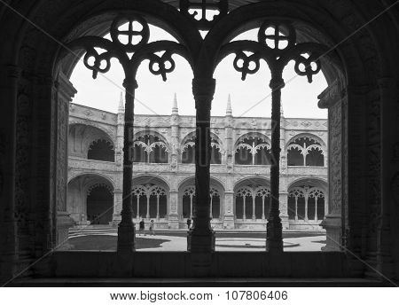 Decorated Cloister Arches In Jeronimos Monastery In Lisbon
