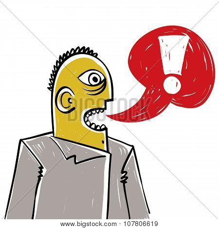 Discussion Concept, Conversation Idea. Illustration Of Man Talking. Exclamation Mark