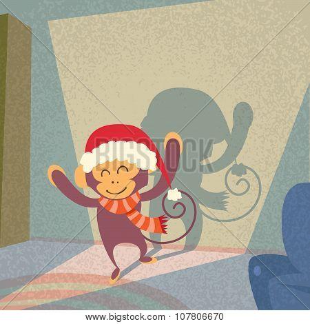Monkey Santa Hat Happy New Year Merry Christmas Shadow Silhouette