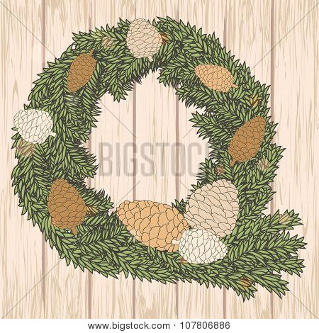 Christmas Card With Pine Cones Wreath On Wooden Background. Vector Illustration