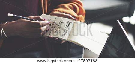 Woman Writing Notepad Notes SWOT Business Concept