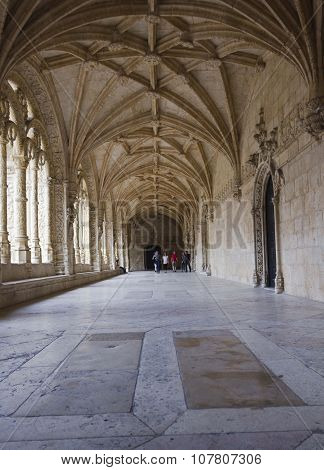 Hallway Of The Jeronimos Monastery In Belem Quartier Of Lisbon