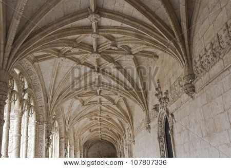 Vaulted Ceiling Of Interior Courtyard Of The Jeronimos Monastery
