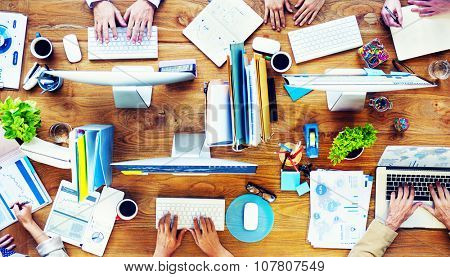 Group of Business People Busy Working Planning Concept