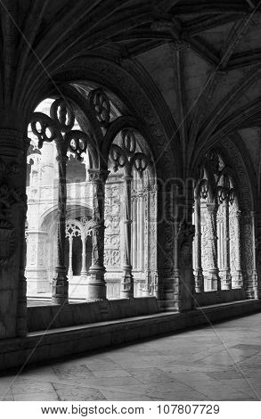 Arched Window Of The Cloister Of Jeronimos Monastery