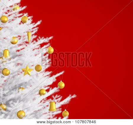 White Christmas Tree Over Red 3D Rendering