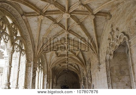 Vaulted Ceiling Of Interior Courtyard of Jeronimos Monastery