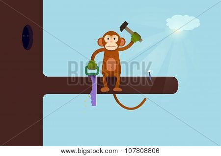 This Webpage is Under Construction concept. Monkey cartoon humor